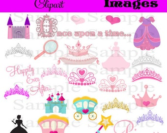 Princess and Tiara Clipart Clip Art, INSTANT DOWNLOAD Crown Silhouette Clipart Clip Art , Royal Clipart Personal and Commercial 25 Images
