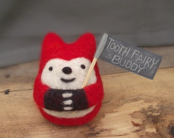 Felt fox tooth fairy buddy, Needle Felted fox Tooth Fairy pillow, childrens gifts