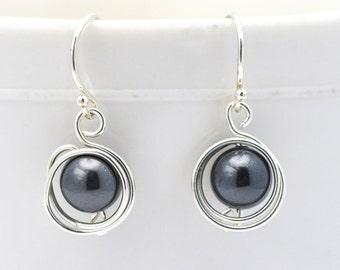Black Pearl Earrings | Swarovski Pearl Silver Wire Wrapped Earrings | Birds Nest Earrings | Ships in ONE Day