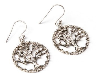 Sterling Silver Circle Tree of Life Earrings, handmade,Yoga Earrings with hooks, Gift boxed,Free UK post