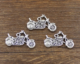 20pcs Motorcycle Charms Antique Silver Tone 24x14mm - SH214