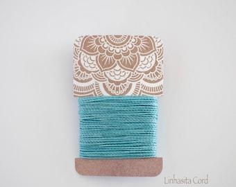 Baby Blue, Linhasita Polyester Waxed Cord, 1mm Macramé Cord, 6.5 meters