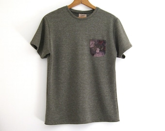 Green Heathered Knit T-Shirt with Contrast Purple Floral Pocket // Small