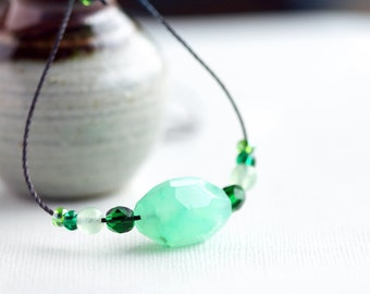 green necklace, everyday jewellery, cord necklace, greta