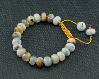 Aquamarine and Amber Silk Cord Bracelet, Hand Knotted