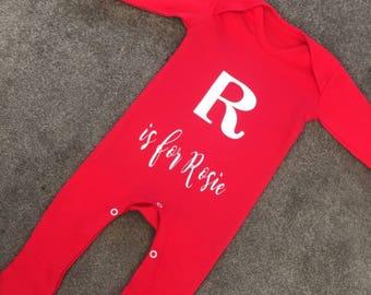 Alphabet all in ones - baby babysuit - alphabet