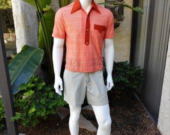 Vintage 1970's Golden Bernard Orance Short Sleeve Knit Shirt - Size Medium