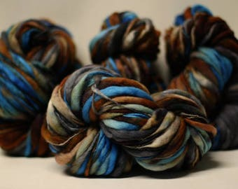 Thick and Thin Yarn Hand Spun Bulky Wool Slub Hand Dyed tts(tm) Variegated SAF17004