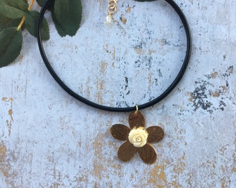 Gold plated flower choker necklace, waxed cotton black choker necklace. Rose choker necklace.