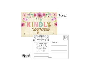 RSVP Postcards -  Kindly Respond Cards - Set of 50 Postcards - 4 x 6 Reply Postcards - B17033