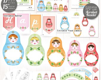 Matryoshka party decor printable, 18 EDITABLE Nesting dolls decorations, russian dolls party decor, personalized Baby shower, Birthday party