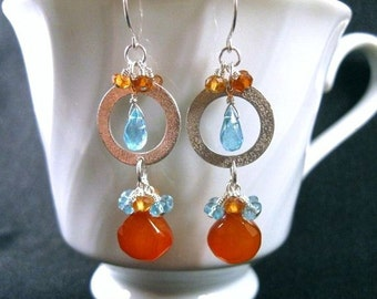 Chalcedony Cluster Earrings in Silver with Apatite & Hessonite Garnet