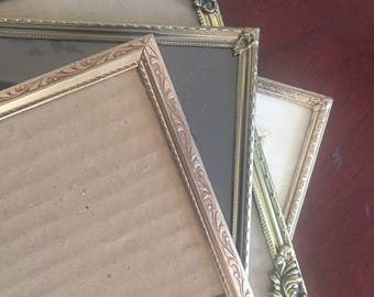 Vintage  picture frames. easel backing set of 4, 8 x 10 and 5 x 7