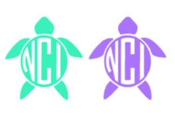 Monogram turtle decal , turtle decal , monogrammed turtle