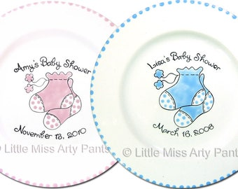 Free Shipping -Personalized Baby Bootie Signature Plate -Hand Painted Signature Plate -Personalized Plate  Guest Book Plate -Signature Plate