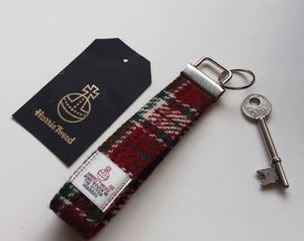 Harris Tweed Keyring / Red, Green and Cream /Festive Colours / Wristlet Keyfob