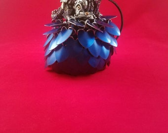Blue scalemaile bag/ Dragon scale bag/Dragon skin/ Dice Bag