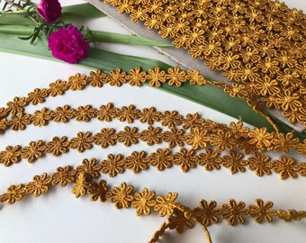 Cotton Lace Trim, Mustard Yellow Trim, Cotton Lace by the yard, Mustard Cotton Trim, Fashion Supply Trim, 1.2 cm trim, Ships free with other