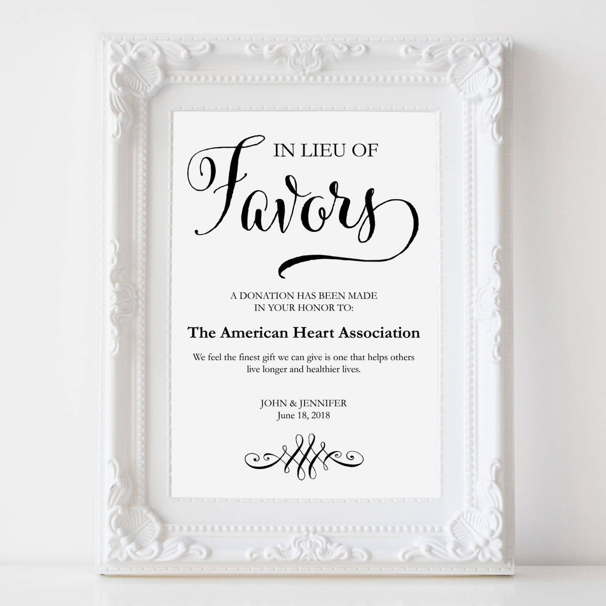 In Lieu Of Favors Sign Wedding Donation Charity