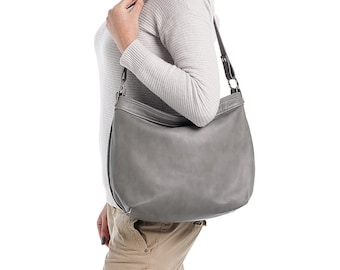 Grey leather hobo bag  - Hobo purse - Leather hobo bag  - MEDIUM HELEN