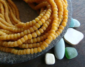 orange seed beads, orange yellow glass bead, small matte  Irregular spacer barrel tube, New Indo-pacific 3 to 6mm / 22 in strand,5Bb6-25