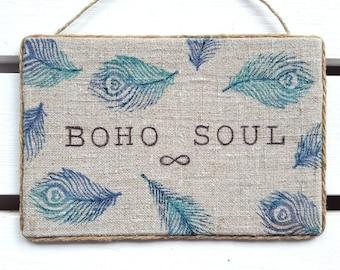 Boho soul - Boho decor - Bohemian wall decor - Gypsy Decor - Boho decor - College dorm girl - Boho chic - Boho dorm decor - Hippie decor