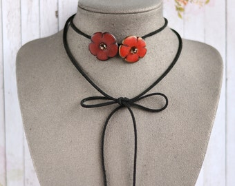 Wrap choker flower necklace Choker leather Red charm choker necklace Red boho choker Teen girl gift Jewelry woman gift Collar gift for her