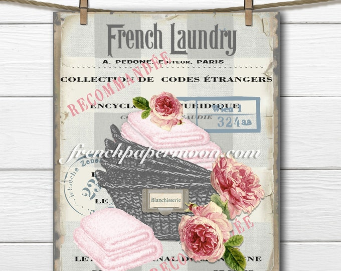 Vintage Shabby French Laundry Basket, Towels, Roses, French Decor Print, French Decor Print, Image Transfer, Craft Supply