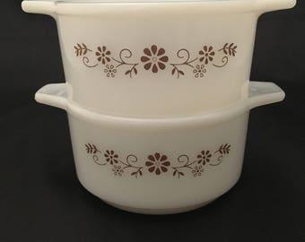 Vintage Pyr O Rey Bowls - Vintage Milk Glass Casserole Dishes - Vintage Bowls with Brown Flower Pattern - Vintage Baking Dishes - Set of 2