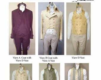 Men's Late Georgian Coat and Vests sizes 34-56 - Laughing Moon Sewing Pattern # 124 & # 125