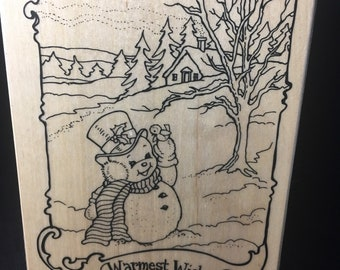 Warmest Wishes Snowman Recollections Stamp Brand New