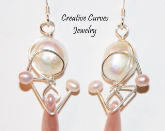 Sterling Silver Earrings - Drop Earrings - Beaded- Wire Wrapped-Gift for her-Dangle Earrings -Pearl Earrings- Gift for Woman-Valentine's Day