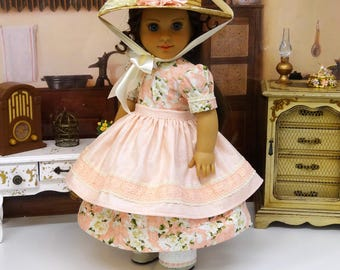 Walnut Grove - Civil War or Prairie dress for American Girl doll with straw hat, apron, undergarments and boots