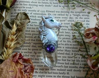 White unicorn with quartz and Swarovski