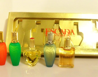 Vintage 1990s Escada Five Piece Assorted Mens & Womens Perfume Cologne Gift Set