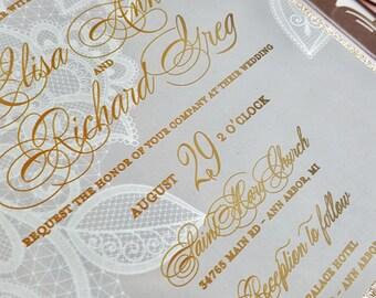 Rose Gold wedding invitation on pearl - Bespoke laser cut invitation set with bellyband {Pansy design - Sku: PnsAra01}