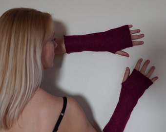 Arm warmers mohair, Wine colored Fingerless gloves, knitted fingerless mittens for women, long wool arm warmers, fingerless mitts