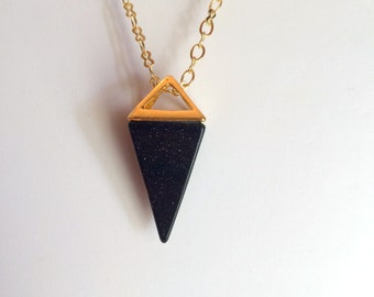 Necklace, Gemstone, BlueStone Pyramid in Gold Necklace