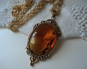 SALE Vintage Faceted Topaz Glass Gold Pendant Necklace Victorian Inspired