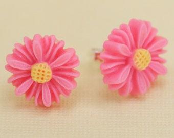 Pink Daisy Flower Post Earrings 13mm set on Sterling Silver