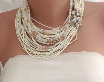 Ivory Crystal Seed Bead  necklace,bold, chunky ,bridal jewelry,Rhinestone Brooch,