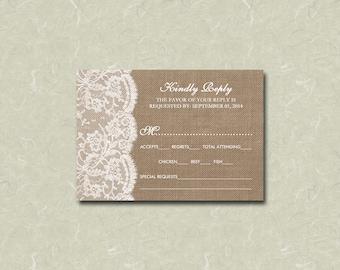 "3.5"" x 5"" Rustic Burlap & Vintage White Lace Wedding RSVP Card Digital File"
