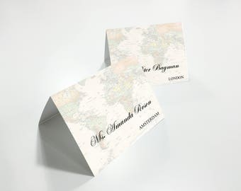 Personalised Vintage World map Place Cards | Customized place cards | Printable