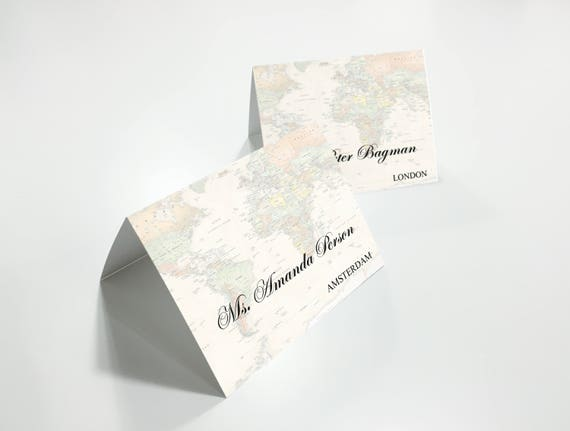 Personalised vintage world map place cards customized place reheart Choice Image