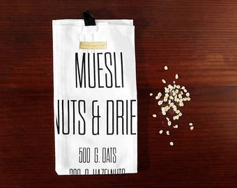 Muesli Kitchen Towel, Large Hand Towel with Recipe, Morning Oatmeal and Muesli Breakfast; Modern Farmhouse Kitchen Decor