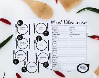 Meal Planner | Family meal planner | Planner printable | Meal planning | Black and white