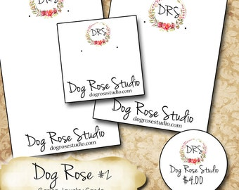 DOG ROSE #2•Custom Tags•Labels•Earring Display•Clothing Tags•Custom •Boutique Card•Tags•Custom Tags•Custom Labels