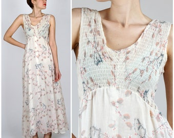 Vintage 1970s Lightweight Sleeveless Festival Maxi Dress with Cherry Blossom Print by Patty O'Neil | Small