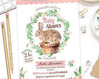 BUNNY INVITATION, Bunny Baby Shower Invitation, Bunny Girl Baby Shower Invite, Bunny Birthday Invitation, Bunny Party Invitation, Digital
