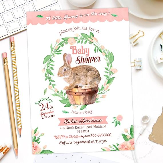 Bunny Invitation Bunny Baby Shower Invitation Bunny Girl